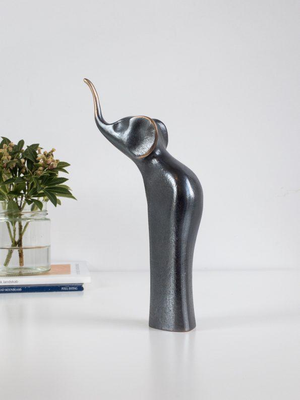 ELEFANT - mørk patina - ekte bronse