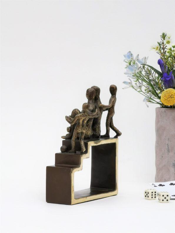 Min familie med 2 barn - ekte bronse